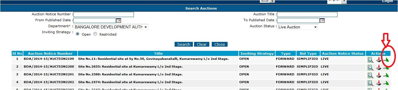 Bangalore realestate bda auction login