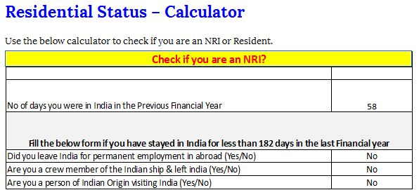 Residential Status calculator - Should an NRI file Taxes in