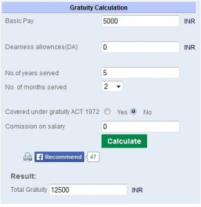 Gratuity Benefit Amount online calculator