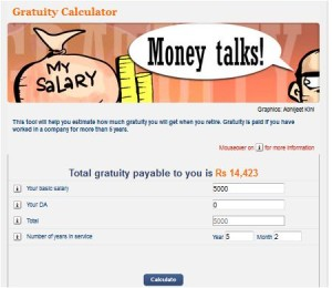 Gratuity Benefit Amount online calculator moneycontrol
