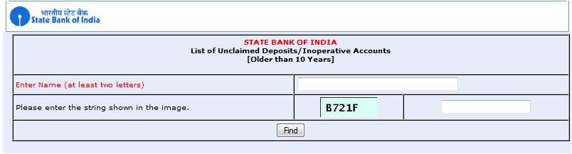 SBI Bank unclaimed deposits