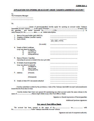 Sukanya Samriddhi A/c Application Form