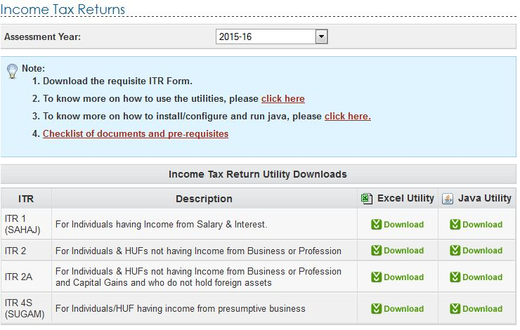 ITR 2015-16 tax preparation software excel jave utility