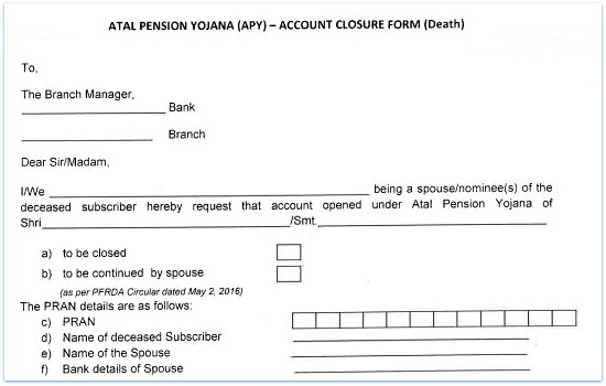 Atal pension yojana APY account closure claim form application death case spouse nominee pic