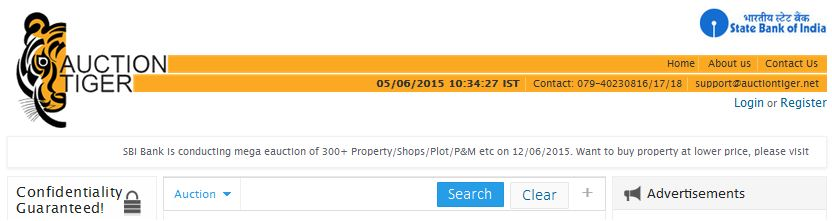 Auctiontiger website sbi properties