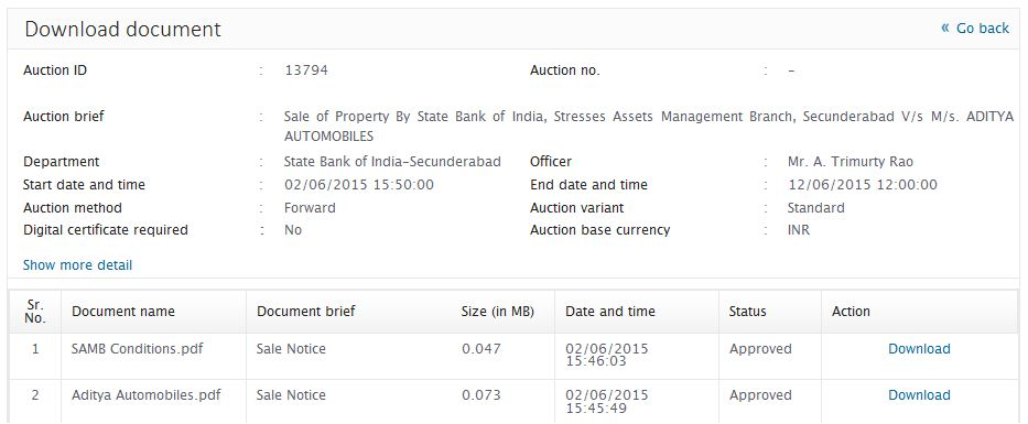 Auctiontiger SBI eauction procedure info