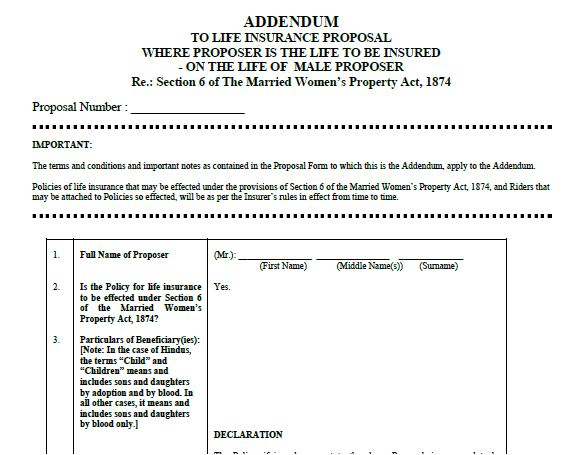 MWP Act form sample Married women property Act