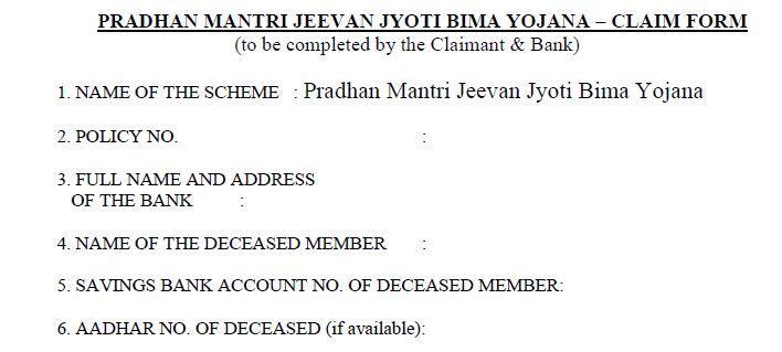 claim form for PMJJBY Pradhan Mantri Jeevan Jyoti Bima Yojana