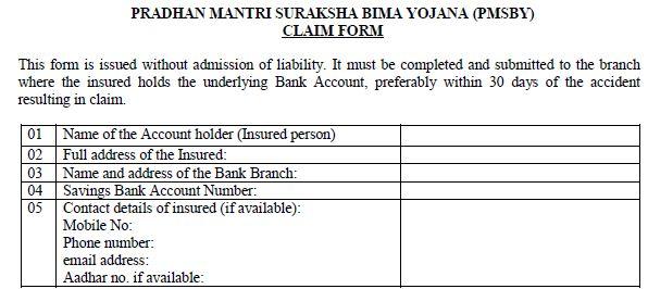 claim form for PMSBY Pradhan Mantri Suraksha Bima Yojana