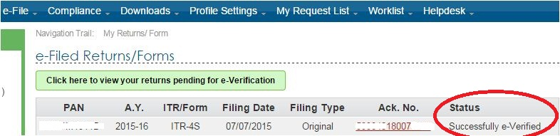 EVC verified ITR verified