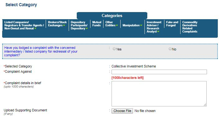 SEBI grievance redressal contact CIS SEBI Scores complaint registration track status