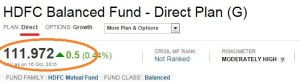 Direct mutual fund plan NAV
