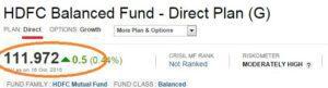 Direct mutual fund plan NAV