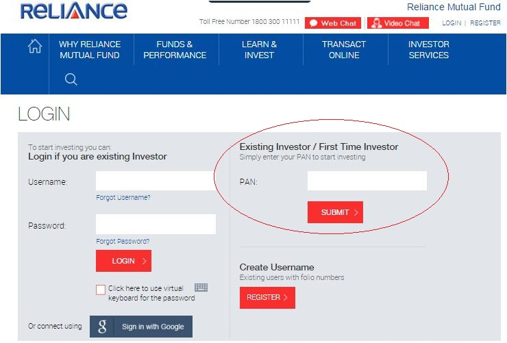 Reliance mutula fund ekyc login process details