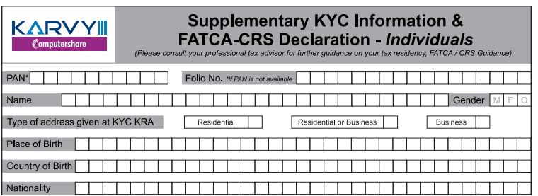 FATCA CRS Declaration form Individual mutual fund investor