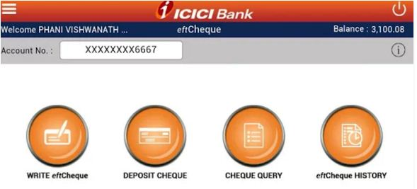 Features of icicibank etfcheques mobile app