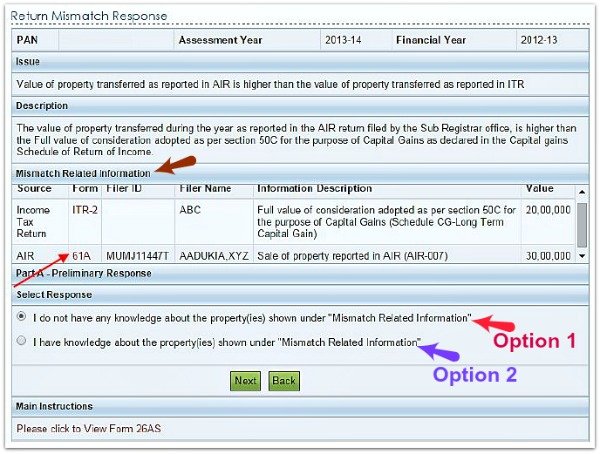 e-Sahyog online facility income tax return mismatch reponse summary options pic