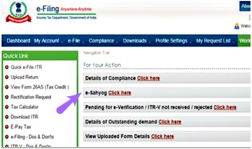 income tax efiling website e-sahyog link pic
