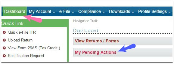 income tax efiling website my pending action items pic