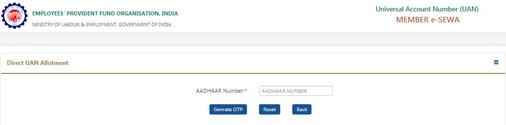 How to get UAN number online through Aadhaar