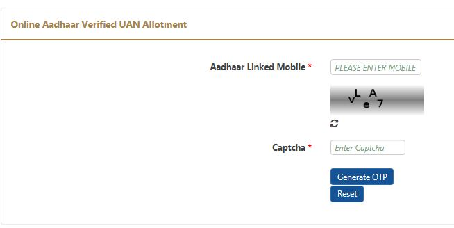 Direct EPF UAN allotment based on Aadhaar linked mobile OTP