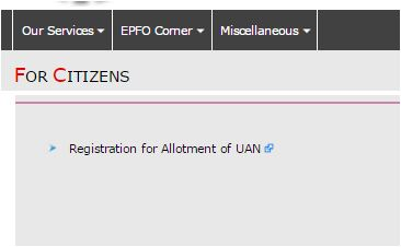 EPFO UAN citizen services link