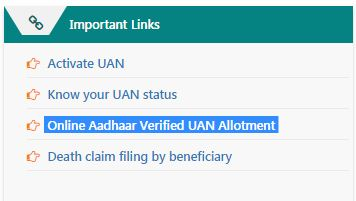 Online Aadhaar Verified UAN Allotment online facility epfo member interface