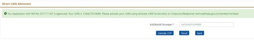 UAN allotment through Aadhaar number online