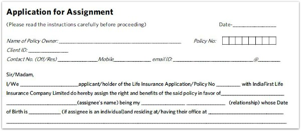 application for assignment life insurance policy pic