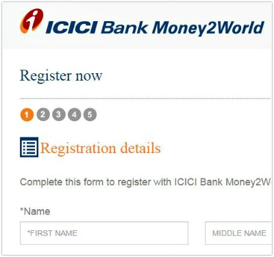 how to register icici bank money2world pic