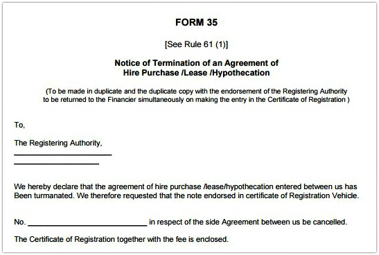 RTO Form 35 template sample Termination of agreement hire purchase lease hypothecation pic
