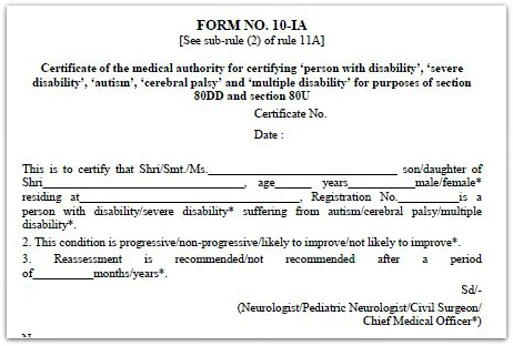 Section 80D 80u Form no 10-IA pic