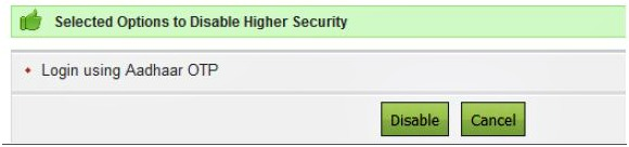 Income Tax efiling account E-filing Vault Login options Disable pic