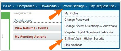 Income Tax efiling account E-filing Vault option pic