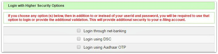 Income Tax efiling account login options Aadhaar OTP Netbanking Digital Singature pic