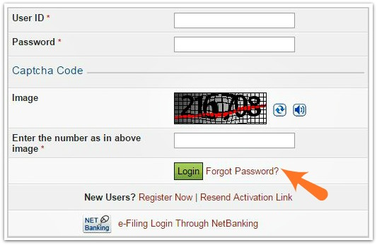 incometaxindia efiling website forgot password link