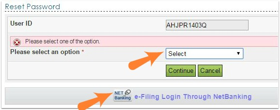 incometaxindia efiling website forgot password reset options pic