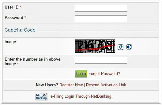 incometaxindia efiling website login pic