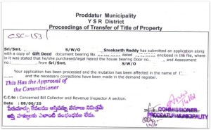 mutation procedure transfer of title of property in municpality limits pic