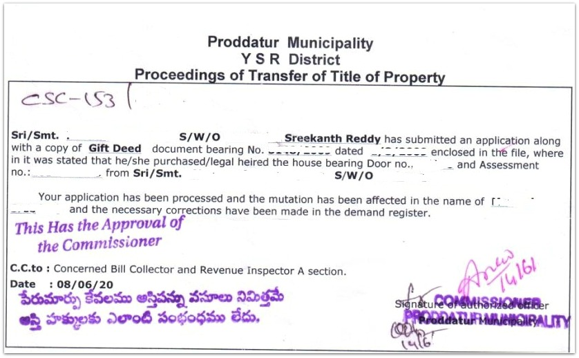 Mutation of Property - How to get Title of Property transferred?