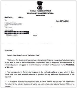 non-filing of income tax return notice letter pic