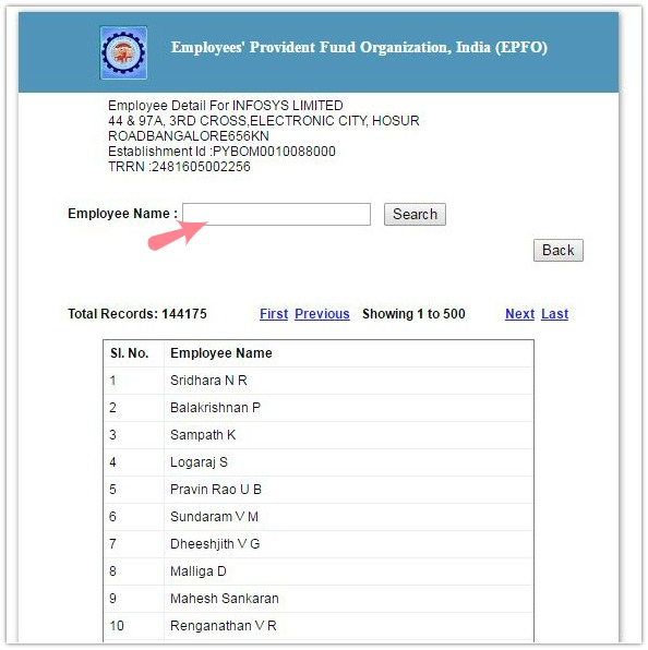 How to know if my company is depositing EPF dues on monthly basis employees list pic