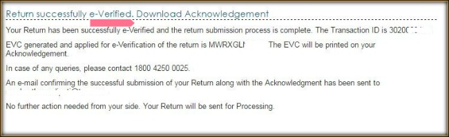ITR tax return successfully everified pic