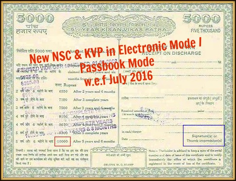 kvp nsc certicicates in emode electronic mode pass book mode in banks post office branches pic