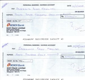 post dated Cheques