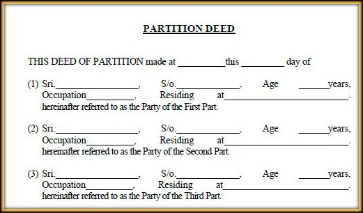 Download Partition Deed Format Template Draft in India pic Partition Deed vs Settlement Deed pic