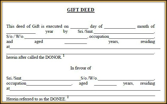 Sample Deed Of Gift Form Of Sale Template Property Gift Deed