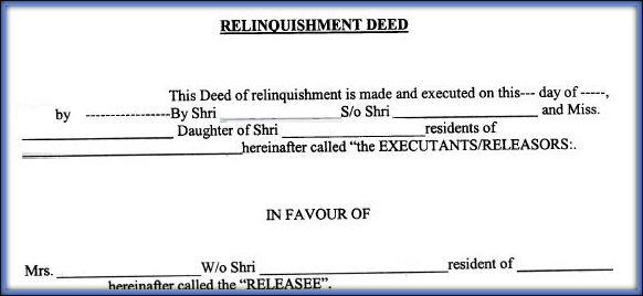 Download Relinquishment Deed Format Template Draft in India pic relinquishment deed Vs release deed