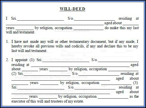 Download WILL Deed Format Template Draft in India pic Will Deed Vs Settlement Deed Vs Relinquishment Deed pic