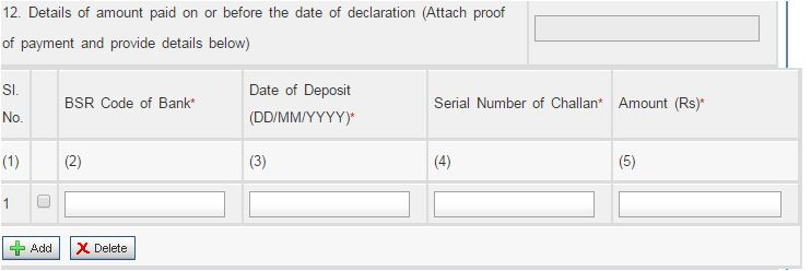 income tax paid challan bsr code form 1 pmgky